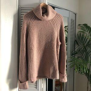 Cozy pink oversized turtleneck sweater- Women's XL